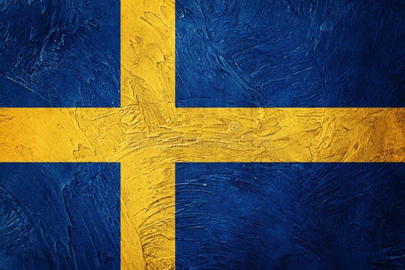 Bandeira de Grunge Sweden Bandeira da Suécia com textura do grunge foto de stock royalty free