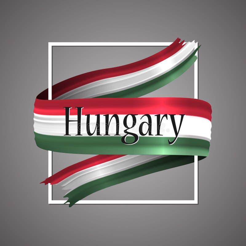 Bandeira de Hungria Cores nacionais oficiais Fita 3d realística húngara Sinal patriótico da listra da bandeira da glória do vetor ilustração stock