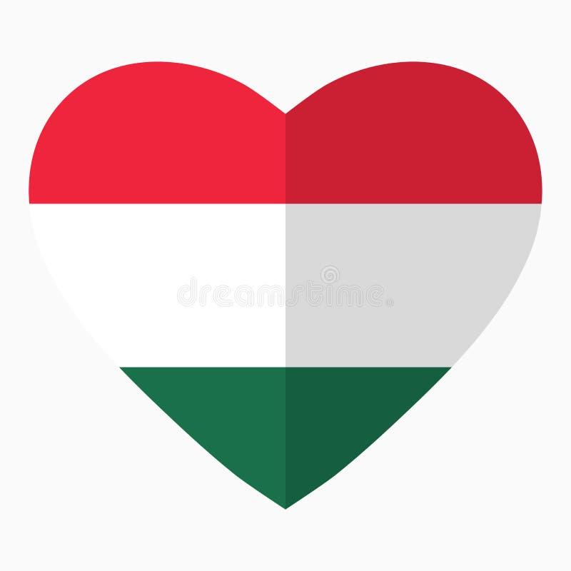 Bandeira de Hungria na forma do coração, estilo liso, símbolo do amor ilustração do vetor