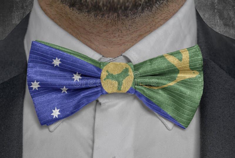 Bandeira de Ilhas Christmas no terno do homem de negócio do bowtie ilustração royalty free