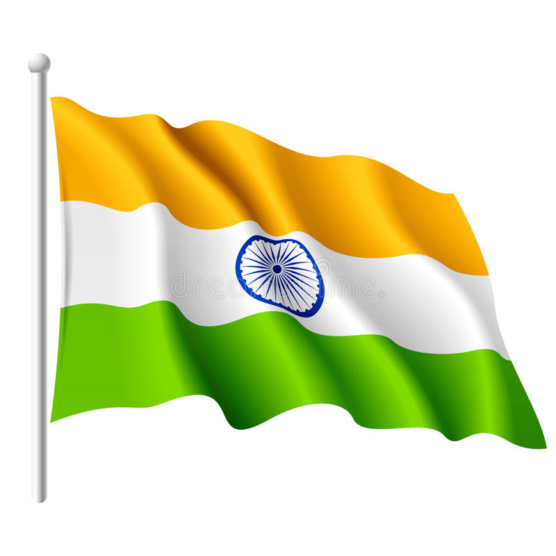 Bandeira de India. Vetor. ilustração royalty free