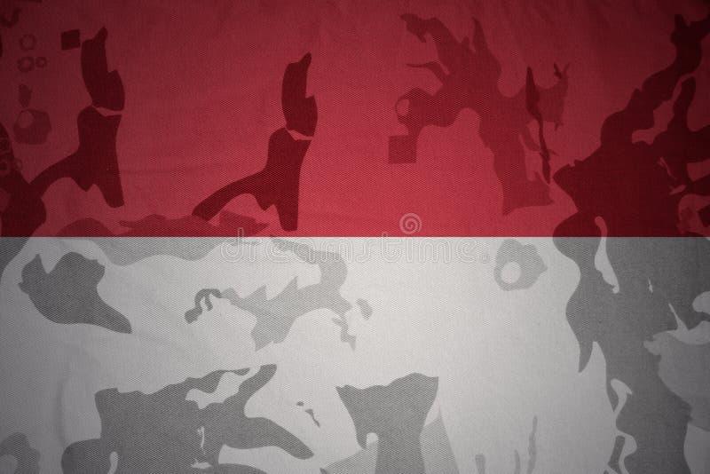 bandeira de Indonésia na textura caqui Conceito militar ilustração do vetor