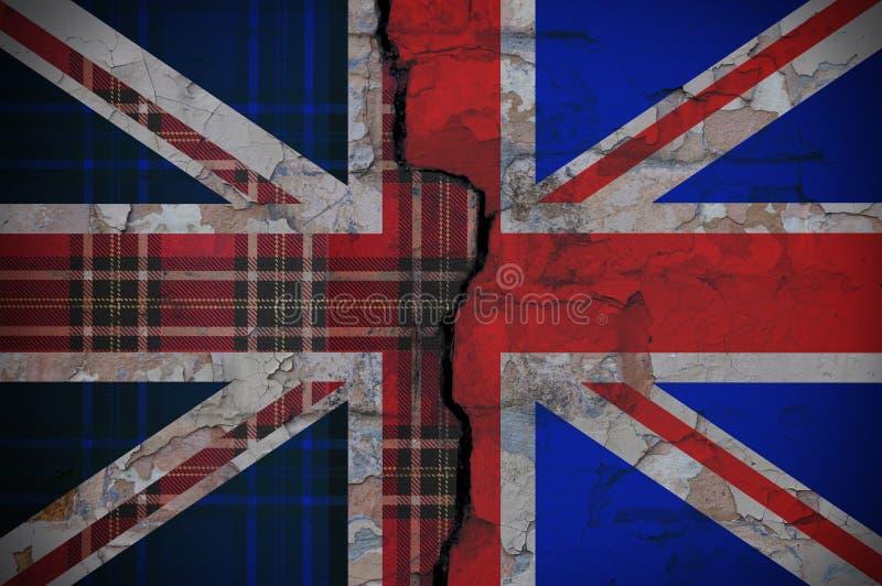 Bandeira de Inglaterra com a textura de Escócia imagem de stock