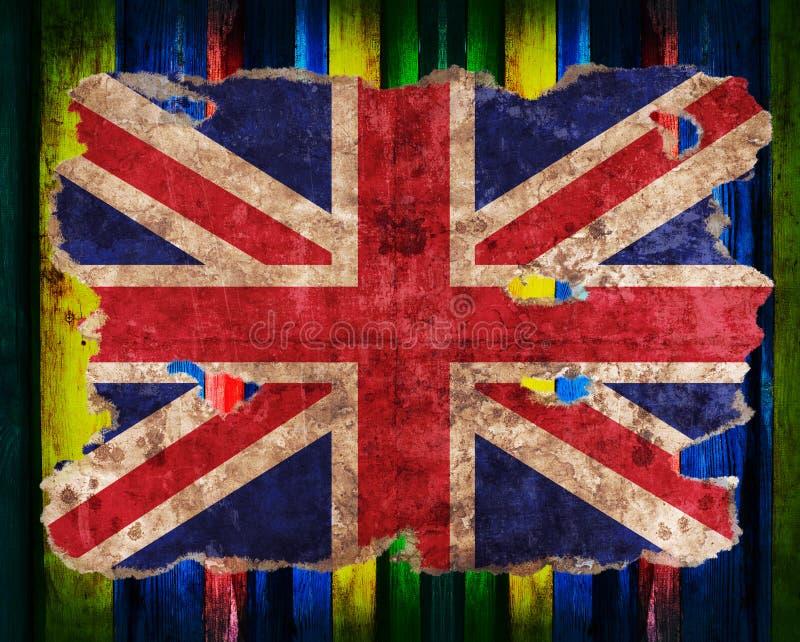 Bandeira de Inglaterra no formulário do papel rasgado do vintage ilustração do vetor