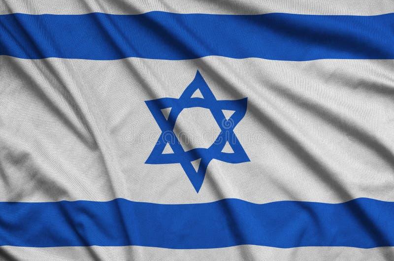 A bandeira de Israel é descrita em uma tela de pano dos esportes com muitas dobras Bandeira da equipe de esporte ilustração do vetor