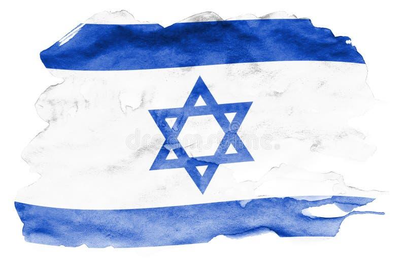 A bandeira de Israel é descrita no estilo líquido da aquarela isolada no fundo branco ilustração stock