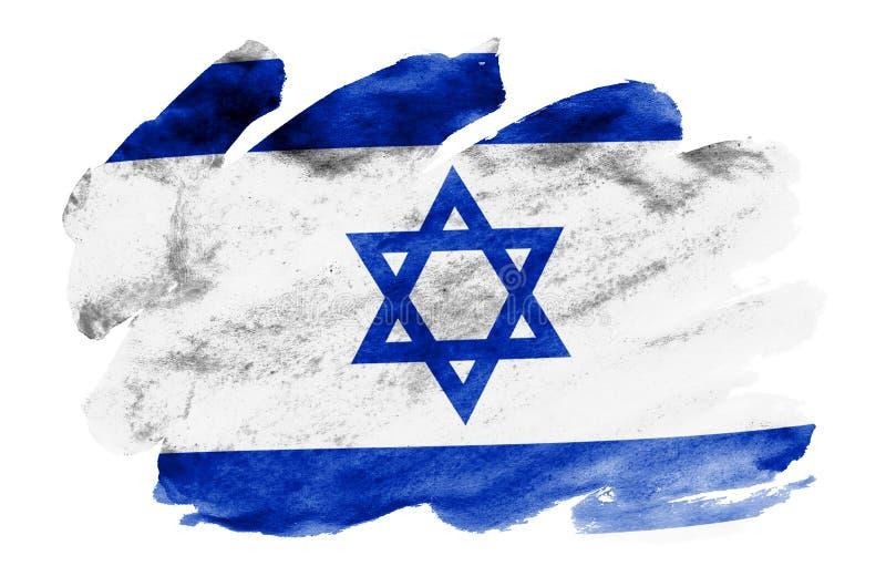 A bandeira de Israel é descrita no estilo líquido da aquarela isolada no fundo branco ilustração royalty free