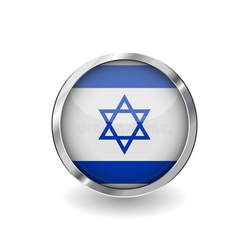Bandeira de Israel, botão com quadro do metal e sombra ícone do vetor da bandeira de Israel, crachá com efeito lustroso e beira m ilustração stock