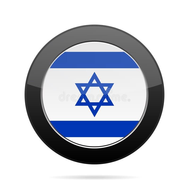 Bandeira de Israel Botão redondo preto brilhante ilustração royalty free