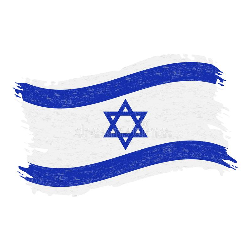 Bandeira de Israel, curso da escova do sumário do Grunge isolado em um fundo branco Ilustração do vetor ilustração royalty free