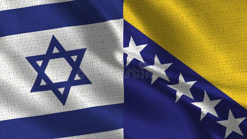 Bandeira de Israel e de Bósnia e de Herzegovina - bandeira dois junto fotografia de stock