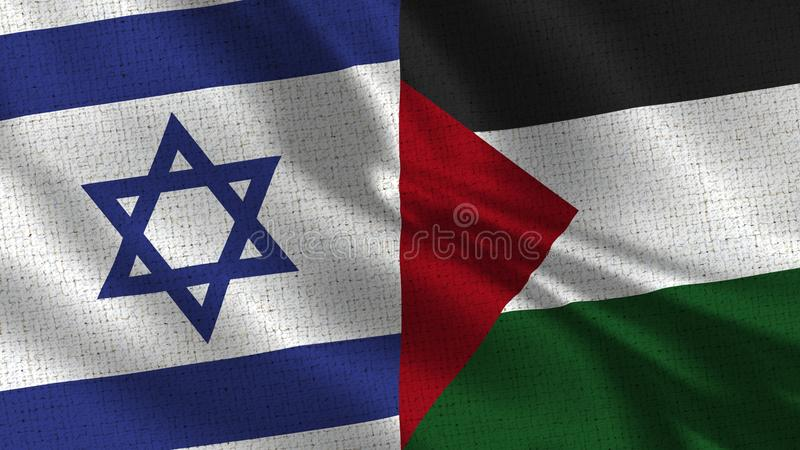 Bandeira de Israel e de Palestina - duas bandeiras junto imagens de stock