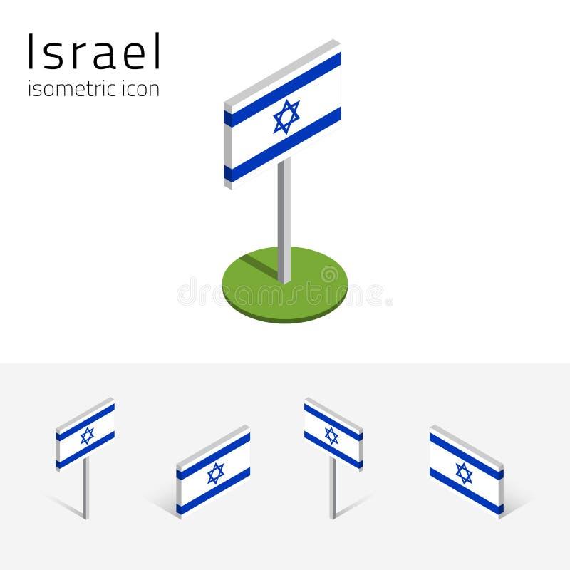 Bandeira de Israel, grupo do vetor dos ícones 3D isométricos ilustração stock