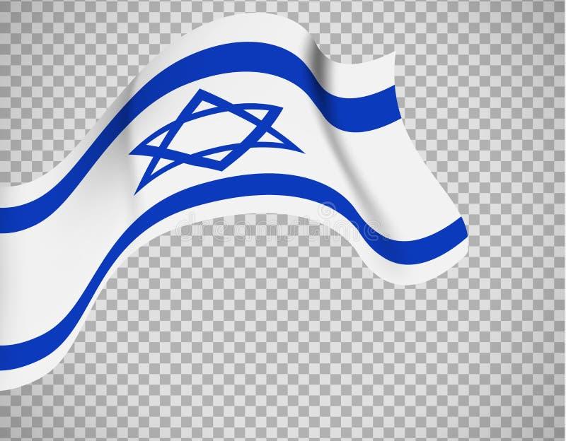 Bandeira de Israel no fundo transparente ilustração stock