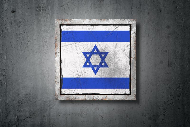 Bandeira de Israel no muro de cimento ilustração royalty free