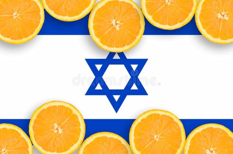 Bandeira de Israel no quadro horizontal das fatias dos citrinos ilustração stock