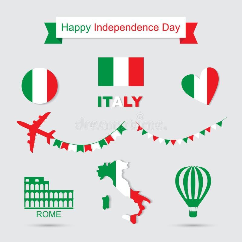A bandeira de Itália, a bandeira e os testes padrões do ícone ajustaram a ilustração ilustração stock