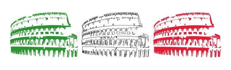 Bandeira de Italy com coliseu ilustração do vetor
