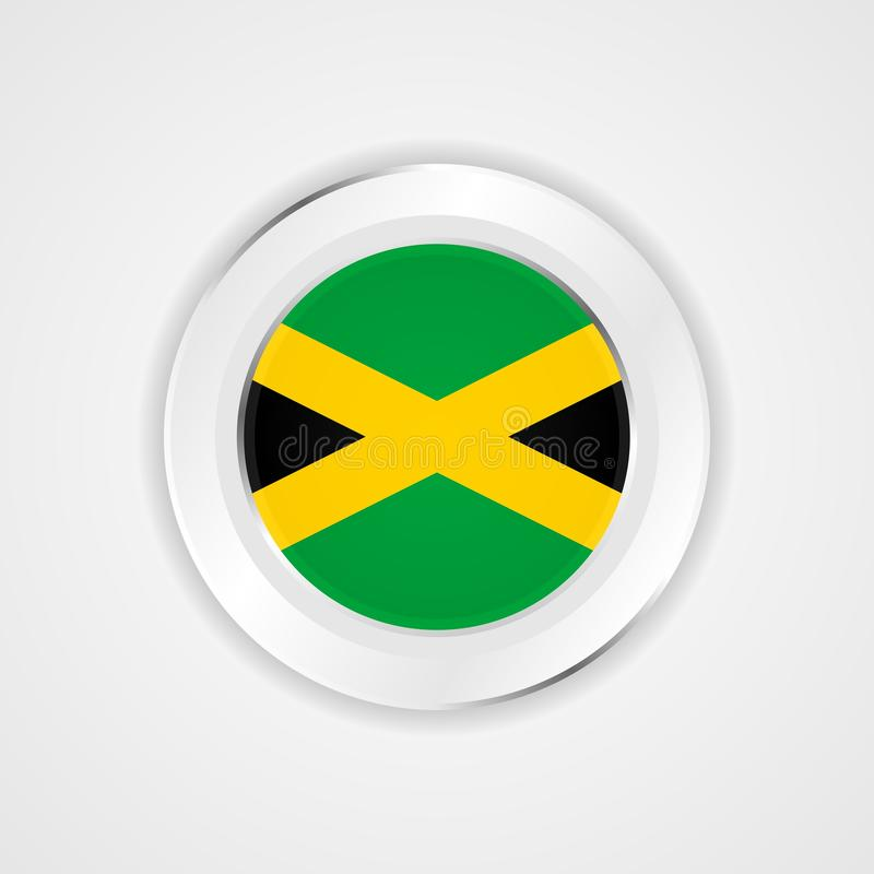 Bandeira de Jamaica no ícone lustroso ilustração royalty free