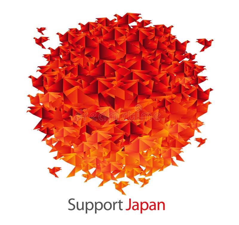 Bandeira de Japão dada forma dos pássaros do origami ilustração do vetor