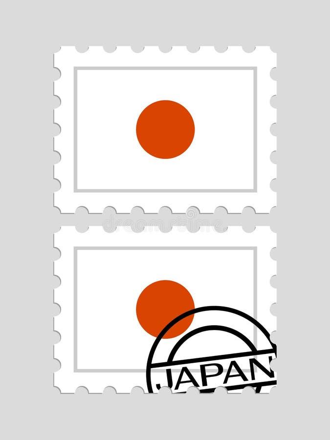 Bandeira de Japão em selos postais ilustração royalty free