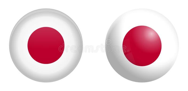 Bandeira de Japão sob o botão da abóbada 3d e na esfera/bola lustrosas ilustração do vetor