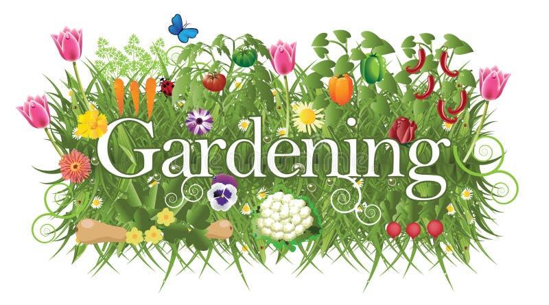 Bandeira de jardinagem com grama, flores e vegetal ilustração royalty free