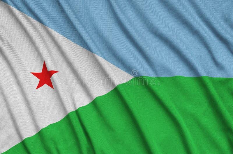 A bandeira de Jibuti é descrita em uma tela de pano dos esportes com muitas dobras Bandeira da equipe de esporte fotografia de stock royalty free
