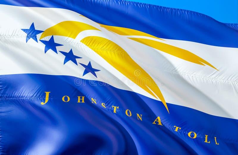 Bandeira de Johnston Atoll 3D que acena o projeto da bandeira do estado dos EUA O símbolo nacional dos E.U. do estado de Johnston imagens de stock