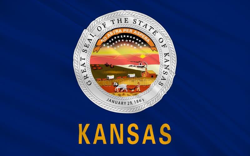 Bandeira de Kansas, EUA ilustração stock