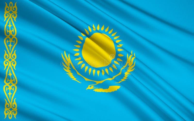 Bandeira de Kazakhstan ilustração royalty free