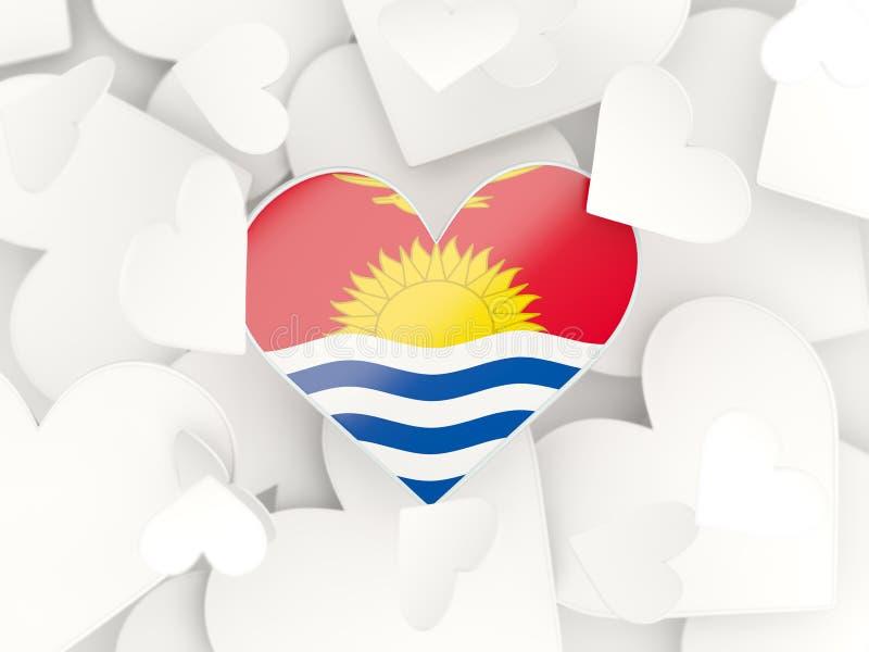 A bandeira de kiribati, coração deu forma a etiquetas ilustração royalty free