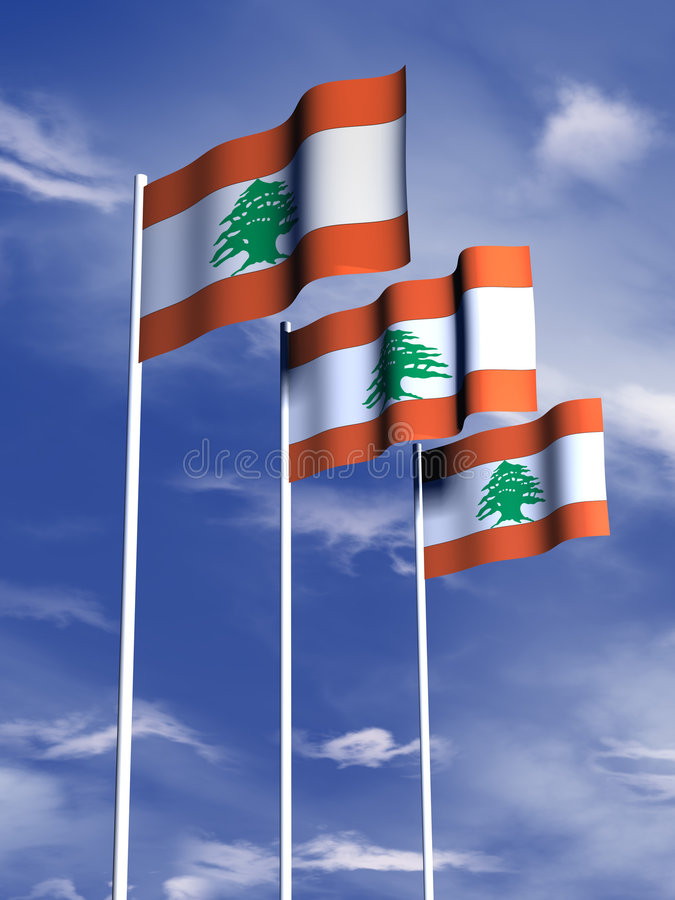 Bandeira de Líbano imagens de stock royalty free