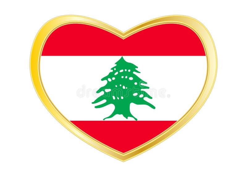 Bandeira de Líbano na forma do coração, quadro dourado ilustração stock