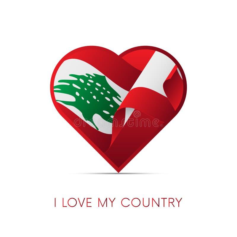 Bandeira de Líbano no coração Eu amo meu país sinal Ilustração do vetor ilustração stock