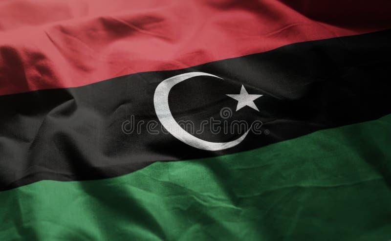 A bandeira de Líbia emaranhou próximo acima imagem de stock royalty free
