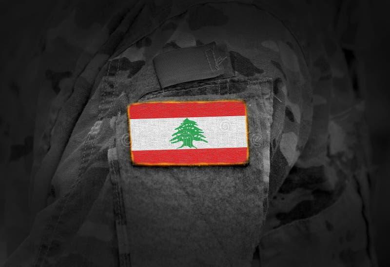 A bandeira de L?bano em soldados arma a colagem fotografia de stock royalty free