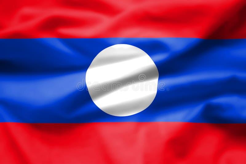 A bandeira de Laos consiste em três listras horizontais, com a listra média em estar azul duas vezes a uma altura da parte superi fotos de stock