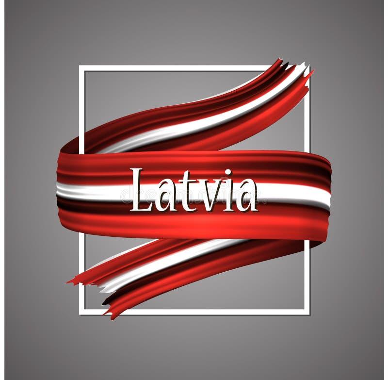 Bandeira de Letónia Cores nacionais oficiais Fita 3d realística letão Sinal patriótico da listra da bandeira da glória do vetor d ilustração royalty free