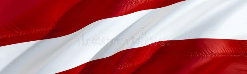 Bandeira de Letónia projeto de ondulação da bandeira da rendição 3D O símbolo nacional de letão projeto de ondulação do sinal 3D  ilustração do vetor