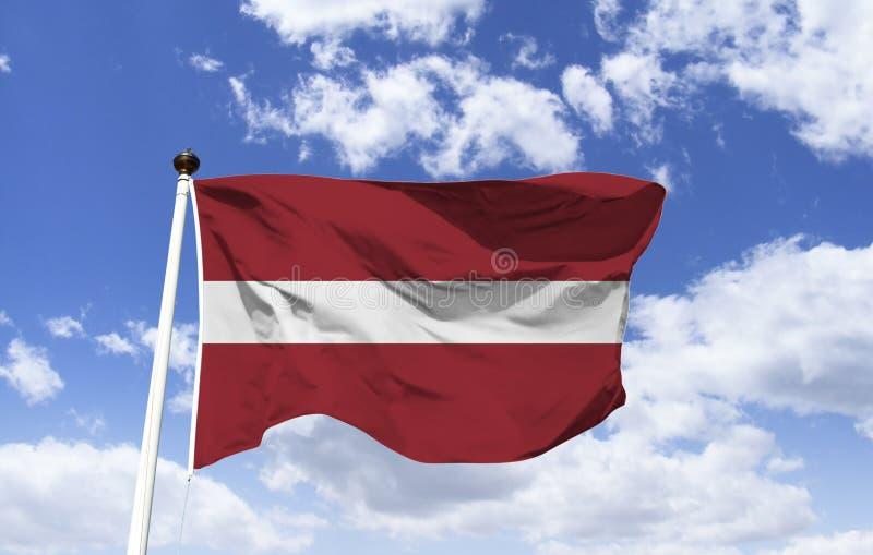 Bandeira de Letónia, relativa a uma legenda do país imagem de stock