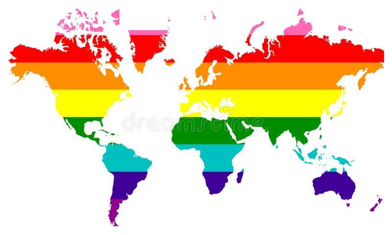 Bandeira de LGBT sobre o mapa do mundo ilustração do vetor