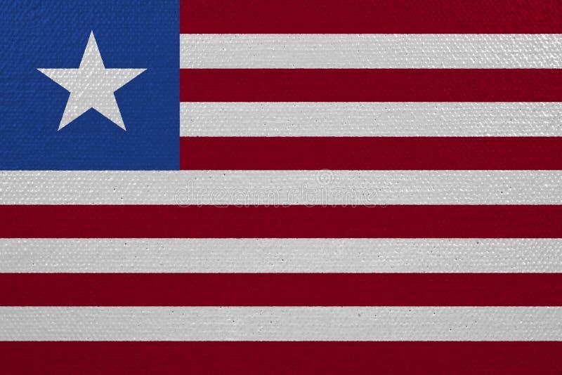 Bandeira de Libéria na lona ilustração do vetor