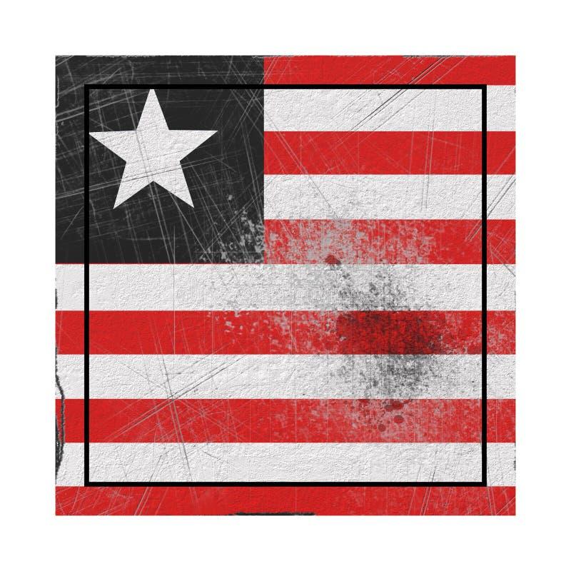 Bandeira de Libéria no quadrado concreto ilustração do vetor