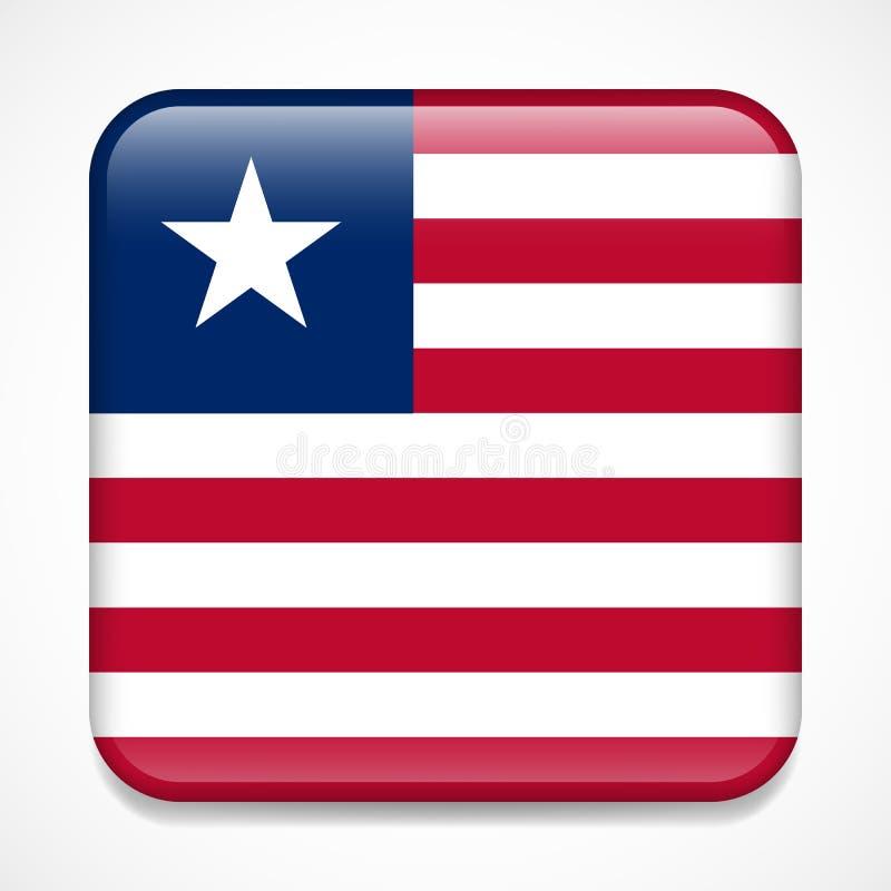 Bandeira de Liberia Crachá lustroso do quadrado ilustração stock