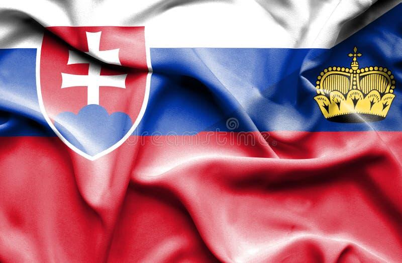 Bandeira de Lichtenstein e eslovaco de ondulação ilustração do vetor
