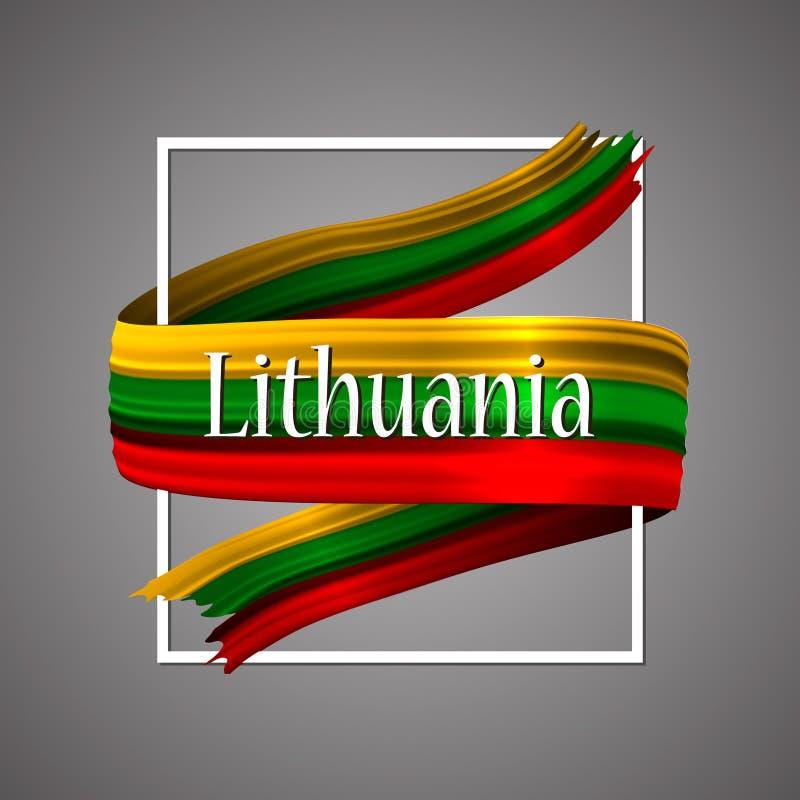 Bandeira de Lituânia Cores nacionais oficiais Fita realística lituana da listra 3d Fundo do sinal do ícone do vetor ilustração stock