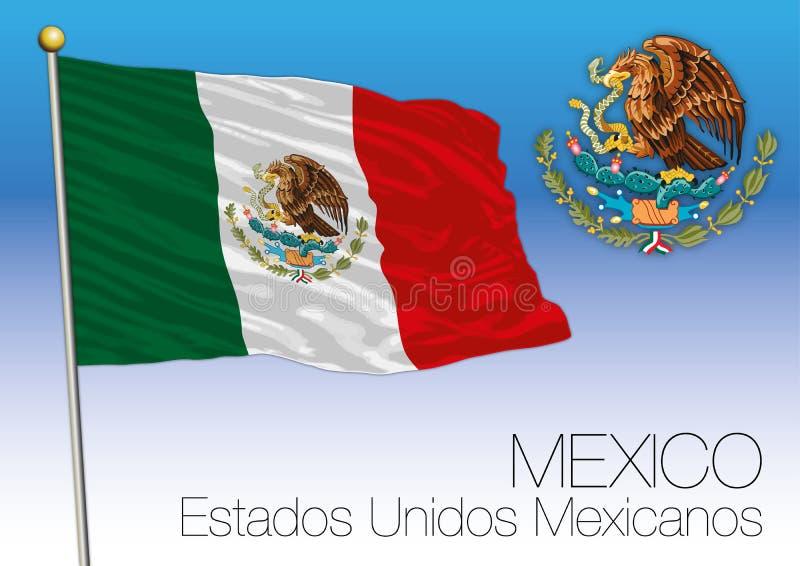 Bandeira de México e brasão, estados mexicanos unidos ilustração royalty free