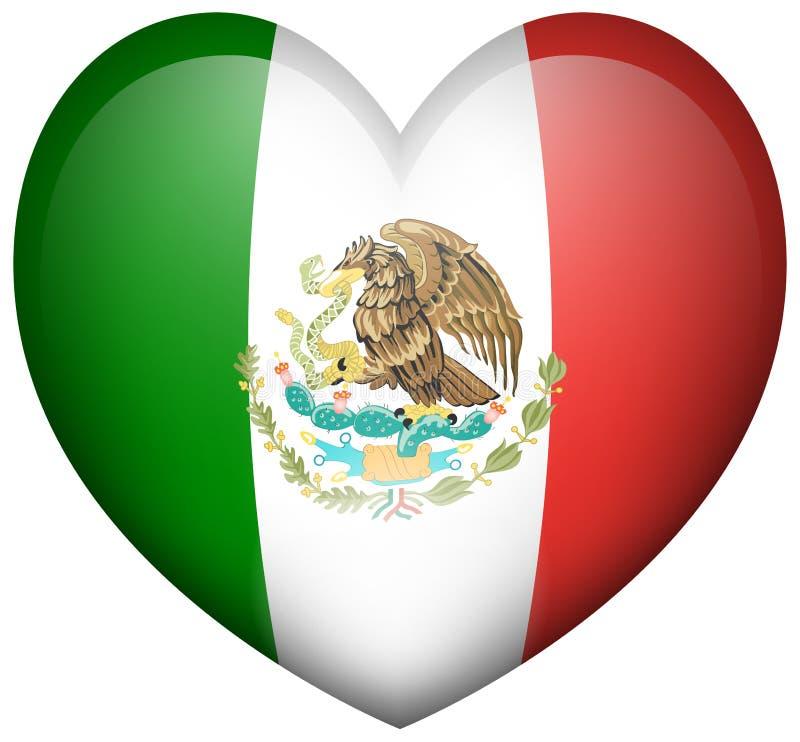 Bandeira de México na forma do coração ilustração stock