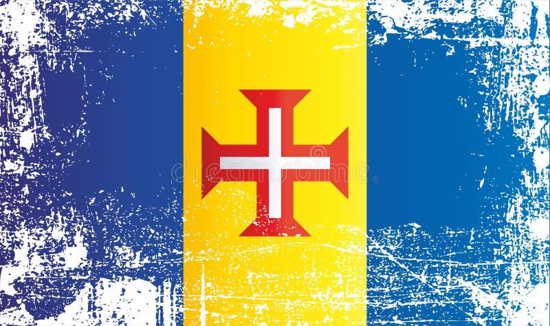 Bandeira de Madeira, república portuguesa Pontos sujos enrugados foto de stock royalty free